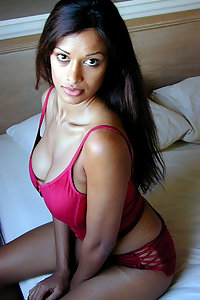 Hot indian girl red lingerie exposing herself off