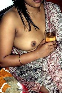 Indian Wife Lifting Sari To Show Off Boobs