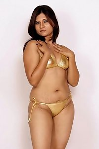 Hot Indian Model Nikita In Golden Bikini